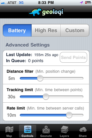 Geoloqi Battery Saver Mode