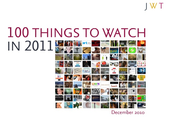 As part of their annual forecast, JWT recently released 100 Things to Watch