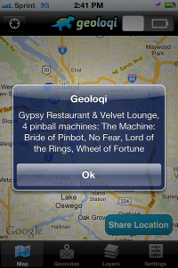 Geoloqi Pinball Geo Notification