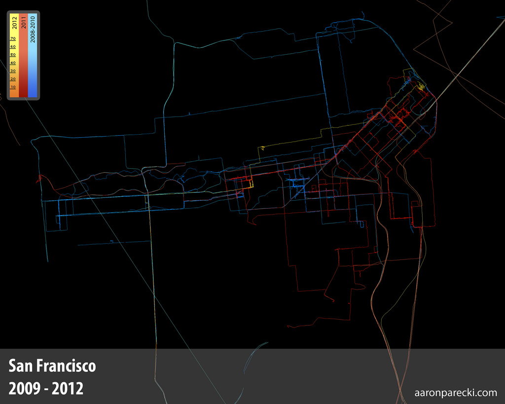 Aaron Parecki's GPS map from San Francisco - 2009-2012