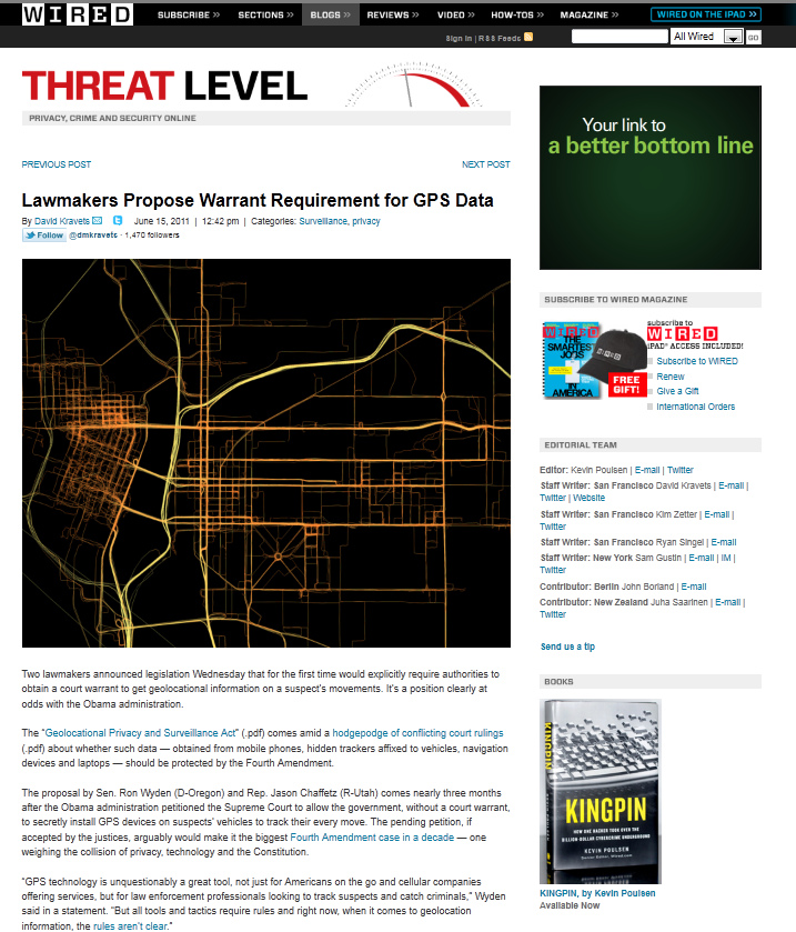 Wired - Threat Level Blog - GPS Tracking