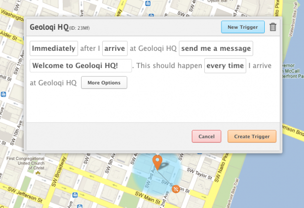 Geoloqi's Visual Trigger Editor