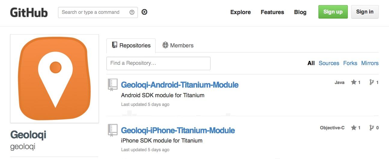 Geoloqi Module for Titanium on Github