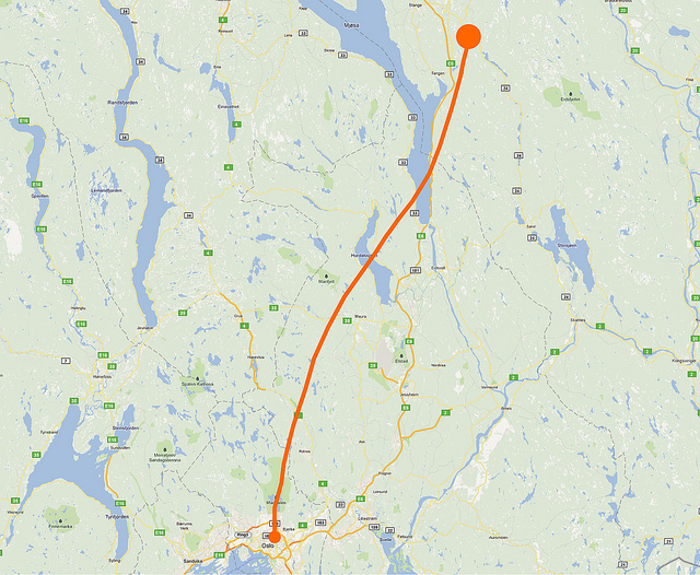 Balloon's Flight Path as Recorded by Geoloqi