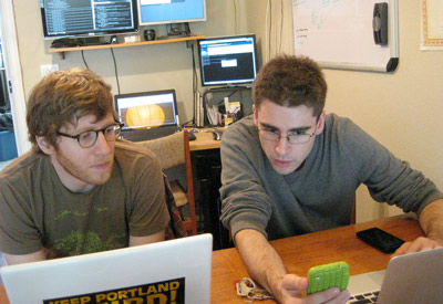 Kyle Drake and Aaron Parecki Working on an Early Iteration of MapAttack!