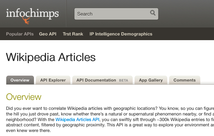Geocoded Wikipedia Articles from Infochimps