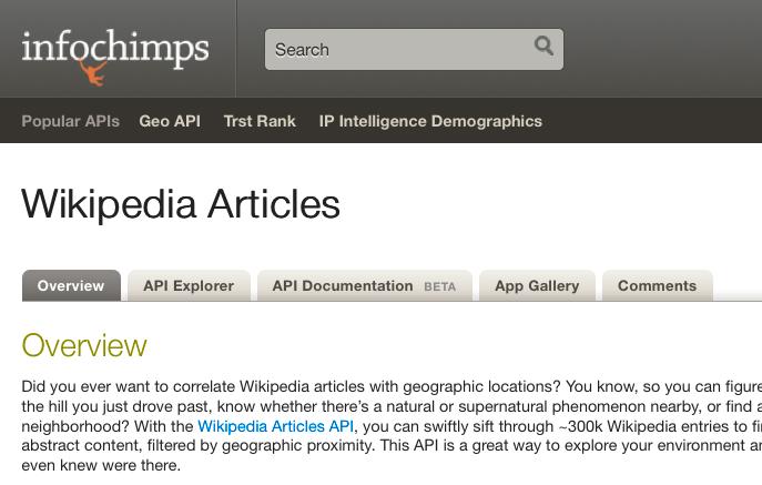 Geocoded Wikipedia Articles from Infochimps