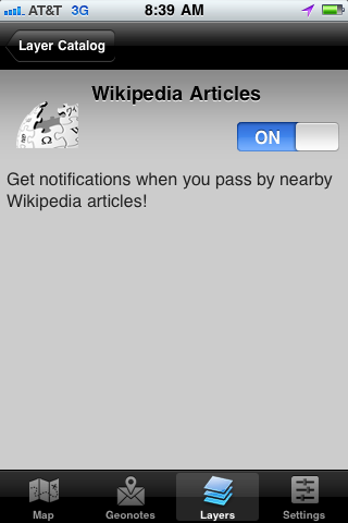 Turn on Wikipedia Articles Layer in Geoloqi