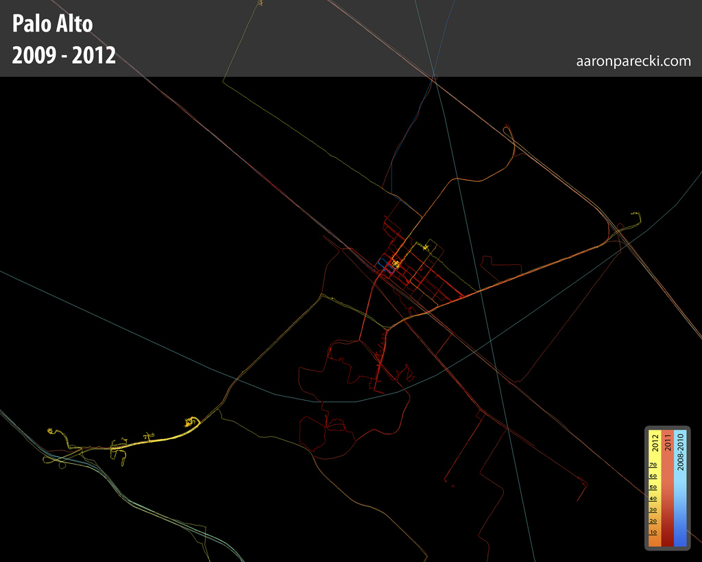 Aaron Parecki's GPS Logs from Palo Alto - 2009-2012